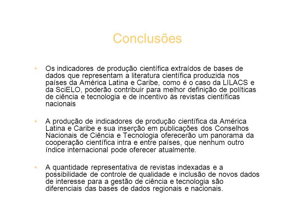 Conclusões Os indicadores de produção científica extraídos de bases de dados que representam a literatura científica produzida nos países da América L