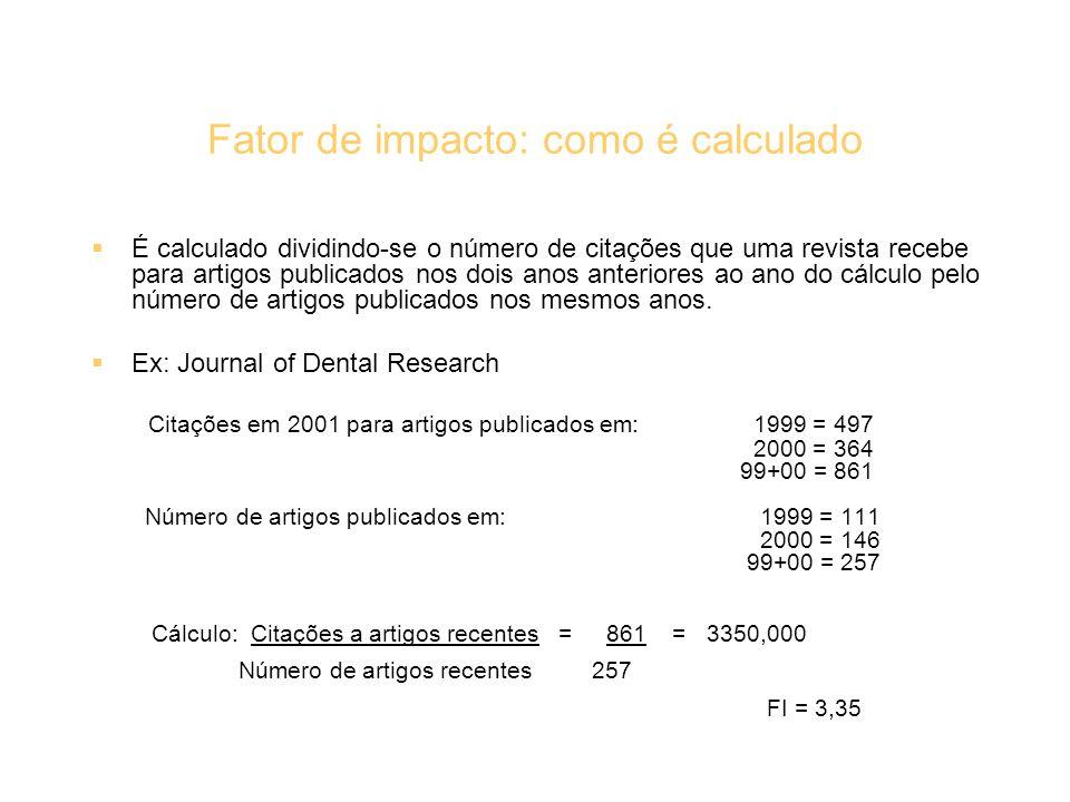 Fator de impacto: como é calculado É calculado dividindo-se o número de citações que uma revista recebe para artigos publicados nos dois anos anterior