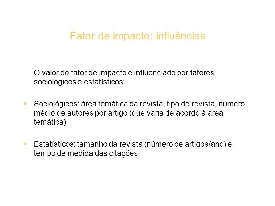 Fator de impacto: influências O valor do fator de impacto é influenciado por fatores sociológicos e estatísticos: Sociológicos: área temática da revis