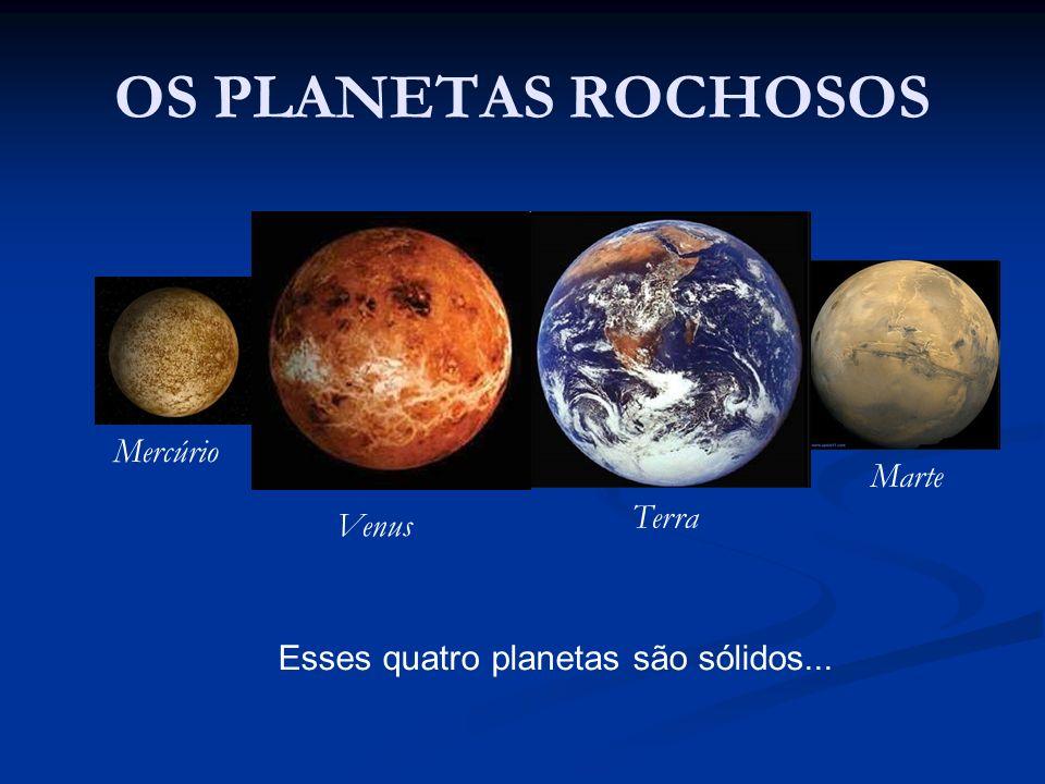 OS PLANETAS ROCHOSOS Mercúrio Venus Terra Marte Esses quatro planetas são sólidos...