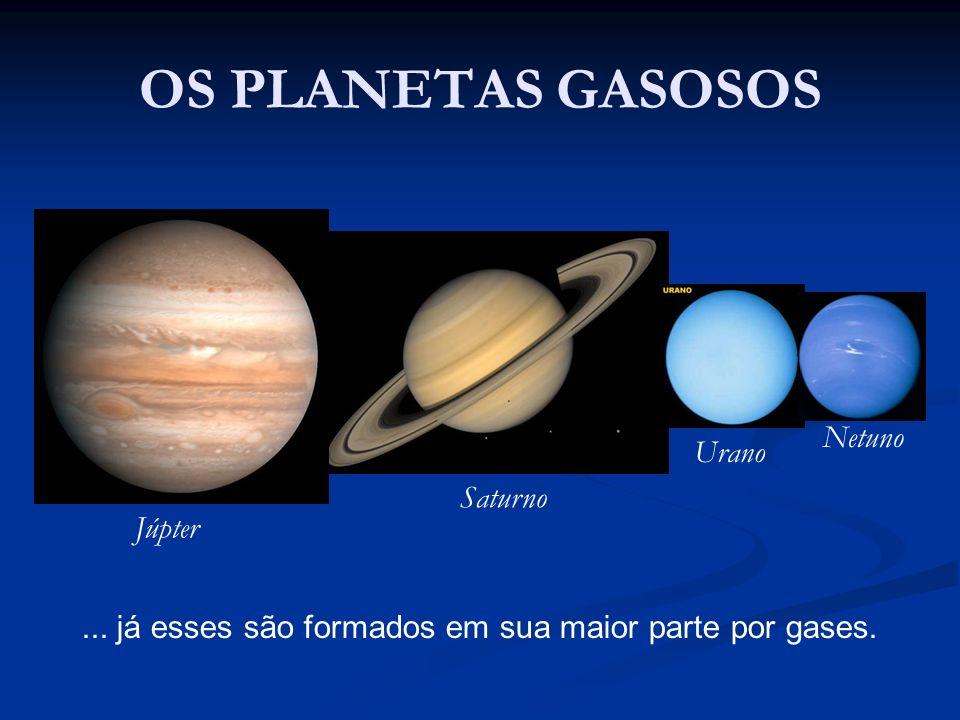 OS PLANETAS GASOSOS Júpter Saturno Urano Netuno... já esses são formados em sua maior parte por gases.