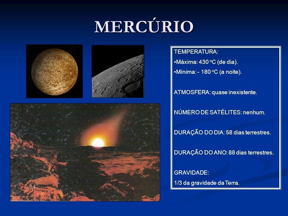 MERCÚRIO TEMPERATURA: Máxima: 430 o C (de dia). Mínima: - 180 o C (a noite). ATMOSFERA: quase inexistente. NÚMERO DE SATÉLITES: nenhum. DURAÇÃO DO DIA