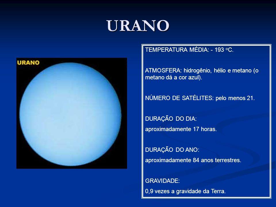 URANO TEMPERATURA MÉDIA: - 193 o C. ATMOSFERA: hidrogênio, hélio e metano (o metano dá a cor azul). NÚMERO DE SATÉLITES: pelo menos 21. DURAÇÃO DO DIA