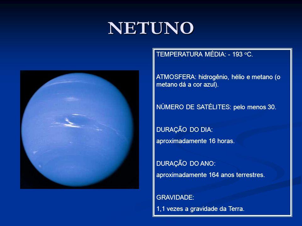 NETUNO TEMPERATURA MÉDIA: - 193 o C. ATMOSFERA: hidrogênio, hélio e metano (o metano dá a cor azul). NÚMERO DE SATÉLITES: pelo menos 30. DURAÇÃO DO DI