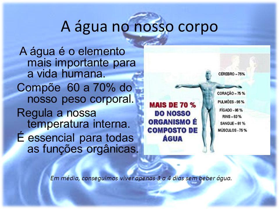 A água no nosso corpo A água é o elemento mais importante para a vida humana. Compõe 60 a 70% do nosso peso corporal. Regula a nossa temperatura inter