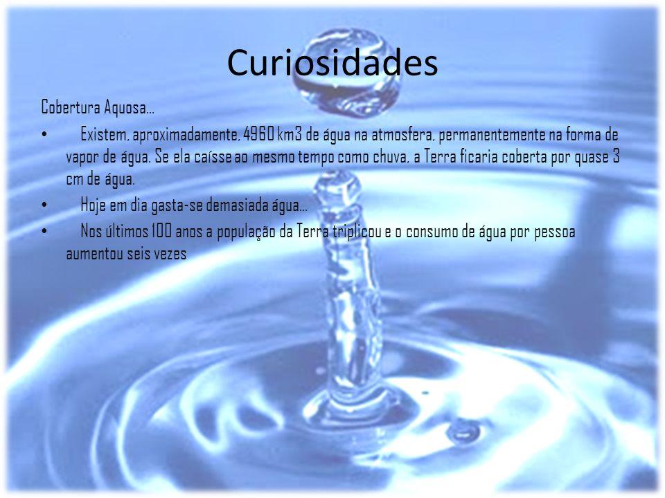 Curiosidades Cobertura Aquosa... Existem, aproximadamente, 4960 km3 de água na atmosfera, permanentemente na forma de vapor de água. Se ela caísse ao