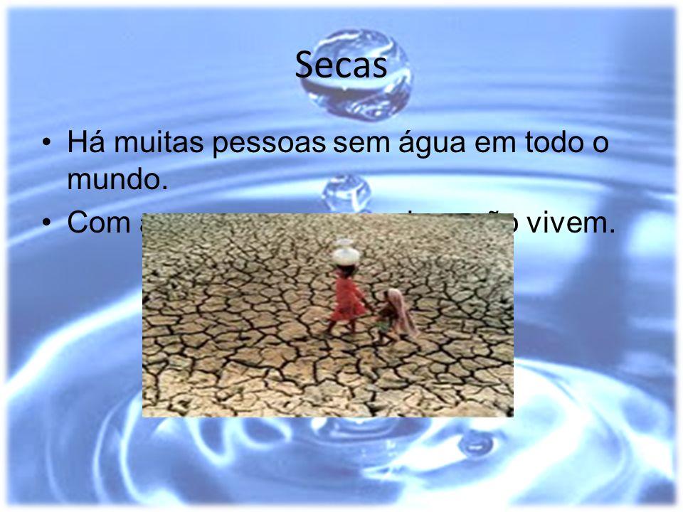 Secas Há muitas pessoas sem água em todo o mundo. Com as secas os seres vivos não vivem.