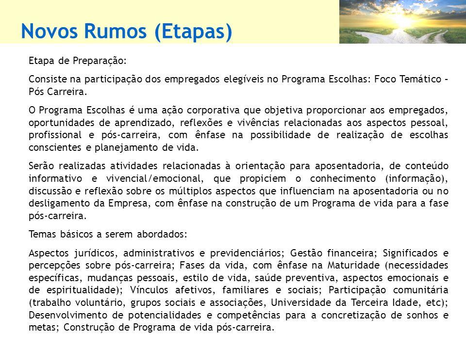 Novos Rumos (Etapas) Etapa de Preparação: Consiste na participação dos empregados elegíveis no Programa Escolhas: Foco Temático – Pós Carreira. O Prog
