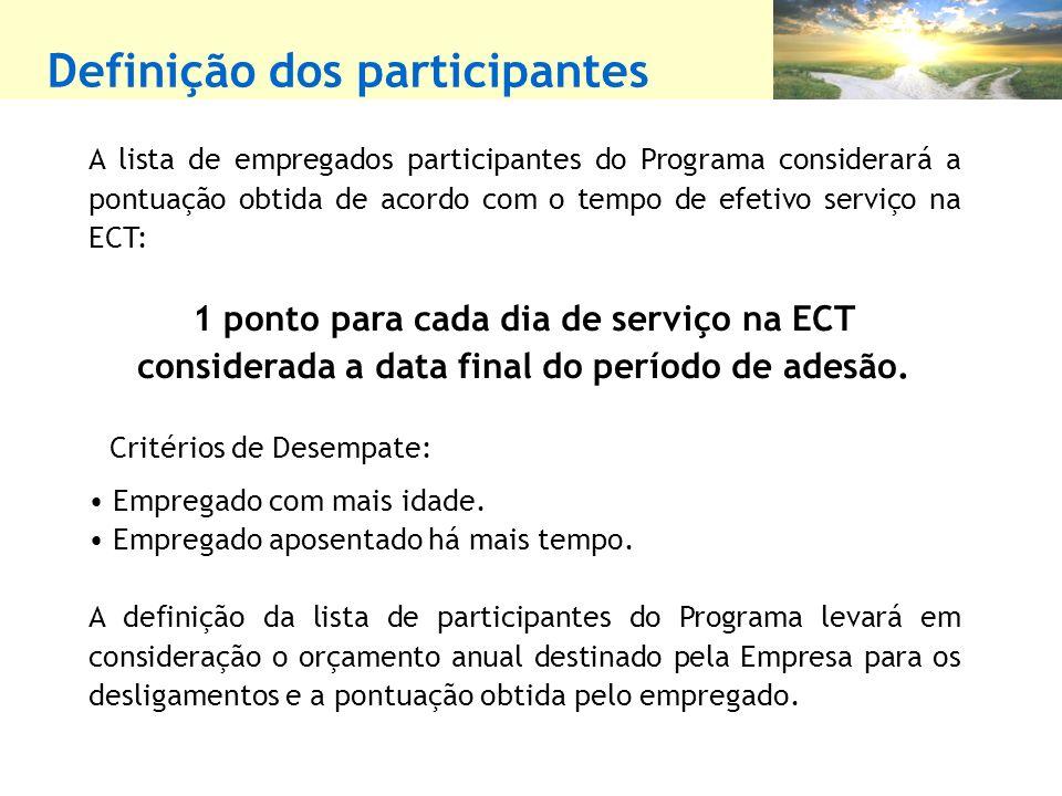 Definição dos participantes A lista de empregados participantes do Programa considerará a pontuação obtida de acordo com o tempo de efetivo serviço na ECT: 1 ponto para cada dia de serviço na ECT considerada a data final do período de adesão.