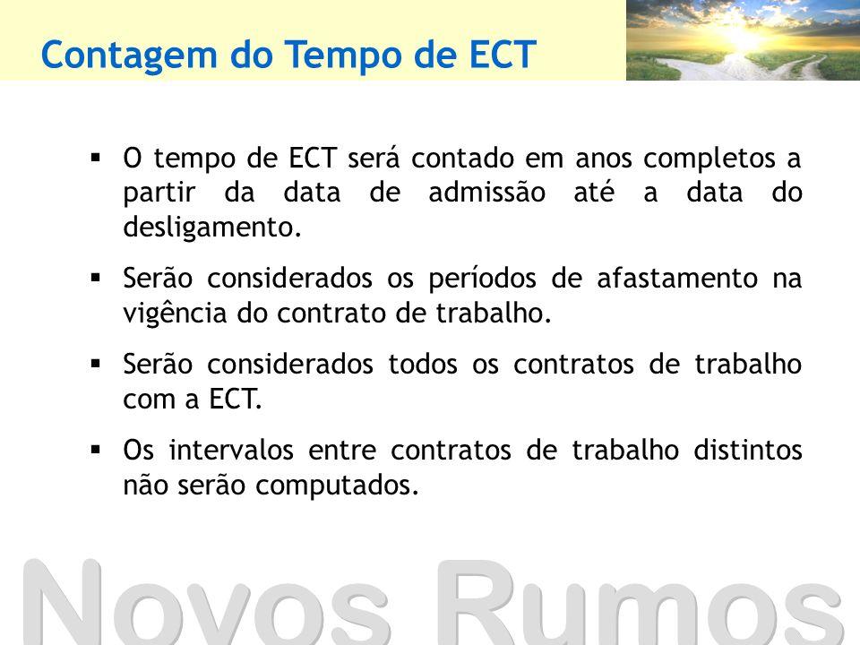 Contagem do Tempo de ECT O tempo de ECT será contado em anos completos a partir da data de admissão até a data do desligamento. Serão considerados os