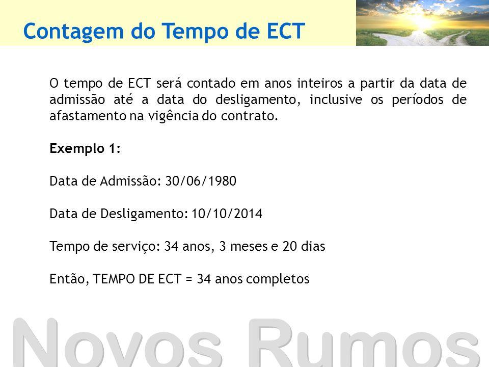 Contagem do Tempo de ECT Novos Rumos O tempo de ECT será contado em anos inteiros a partir da data de admissão até a data do desligamento, inclusive os períodos de afastamento na vigência do contrato.