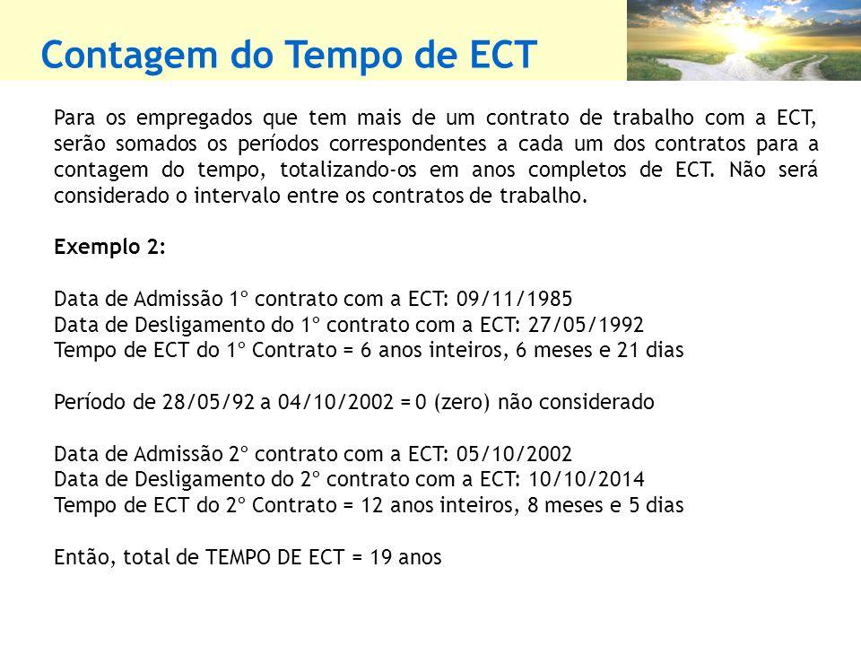 Contagem do Tempo de ECT Para os empregados que tem mais de um contrato de trabalho com a ECT, serão somados os períodos correspondentes a cada um dos contratos para a contagem do tempo, totalizando-os em anos completos de ECT.