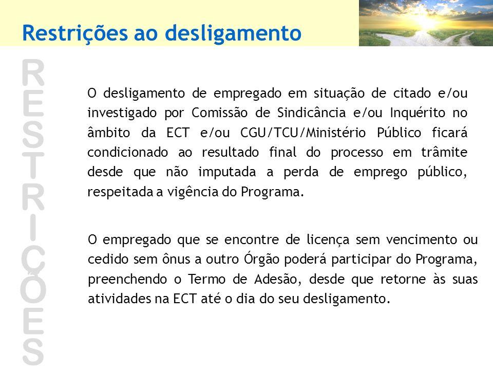 RESTRIÇÕESRESTRIÇÕES O desligamento de empregado em situação de citado e/ou investigado por Comissão de Sindicância e/ou Inquérito no âmbito da ECT e/