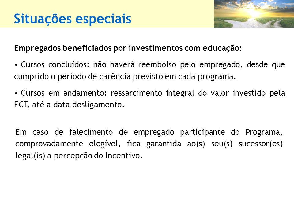Empregados beneficiados por investimentos com educação: Cursos concluídos: não haverá reembolso pelo empregado, desde que cumprido o período de carência previsto em cada programa.