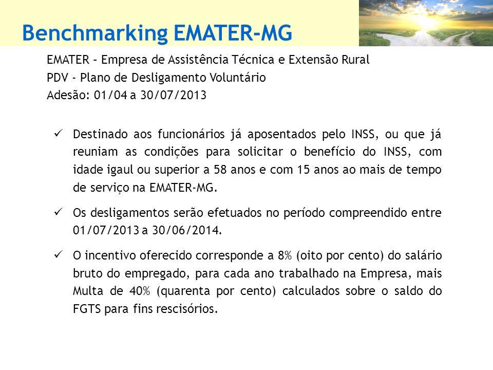 Benchmarking EMATER-MG EMATER – Empresa de Assistência Técnica e Extensão Rural PDV - Plano de Desligamento Voluntário Adesão: 01/04 a 30/07/2013 Dest