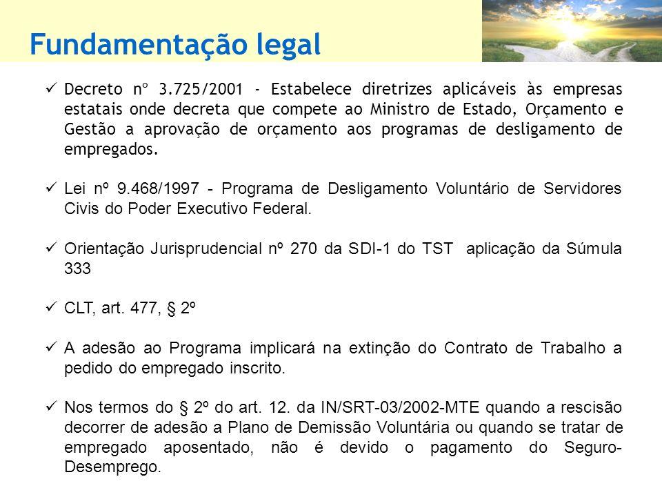 Fundamentação legal Decreto nº 3.725/2001 - Estabelece diretrizes aplicáveis às empresas estatais onde decreta que compete ao Ministro de Estado, Orçamento e Gestão a aprovação de orçamento aos programas de desligamento de empregados.