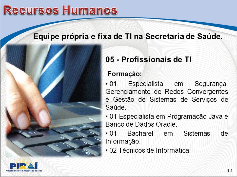 05 - Profissionais de TI Formação: 01 Especialista em Segurança, Gerenciamento de Redes Convergentes e Gestão de Sistemas de Serviços de Saúde.