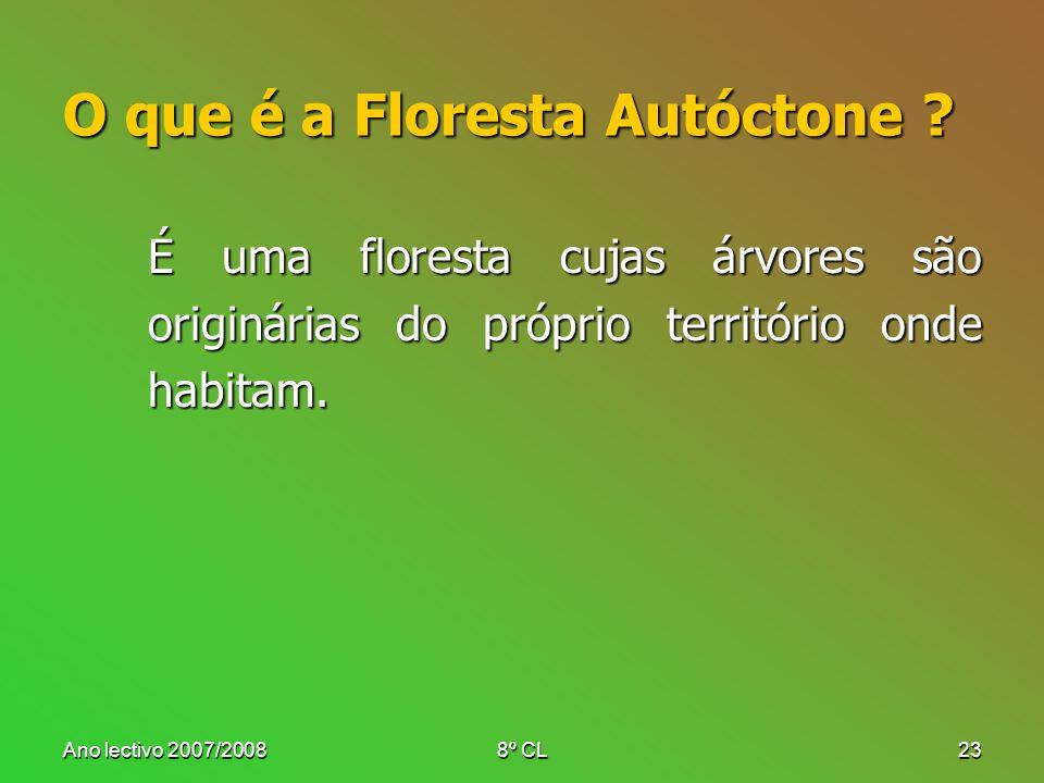 Ano lectivo 2007/20088º CL23 O que é a Floresta Autóctone ? É uma floresta cujas árvores são originárias do próprio território onde habitam.