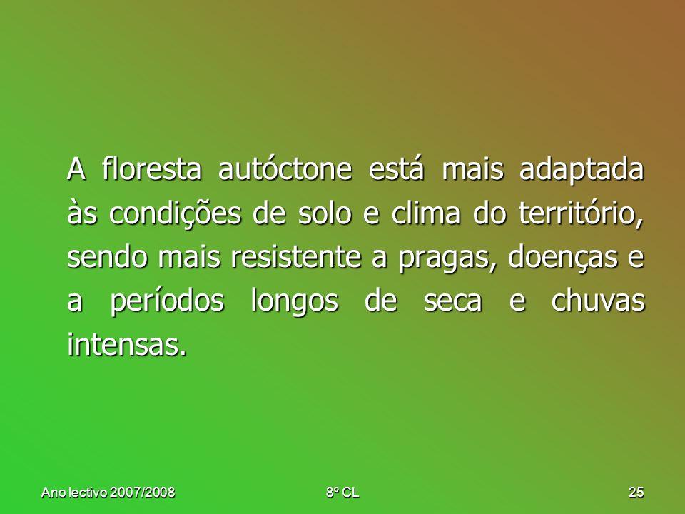 Ano lectivo 2007/20088º CL25 A floresta autóctone está mais adaptada às condições de solo e clima do território, sendo mais resistente a pragas, doenç