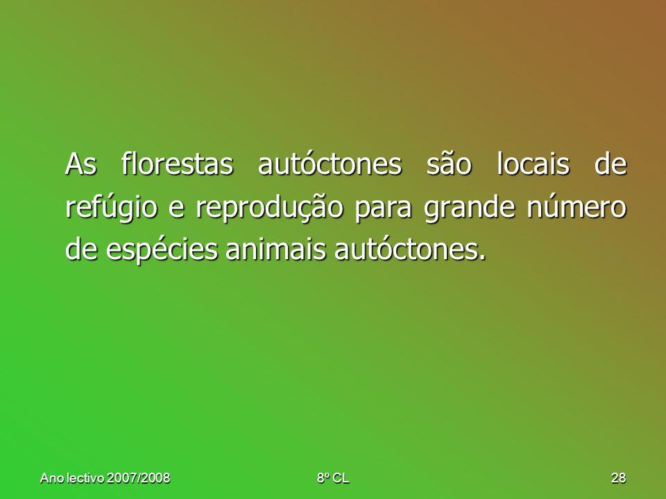 Ano lectivo 2007/20088º CL28 As florestas autóctones são locais de refúgio e reprodução para grande número de espécies animais autóctones.