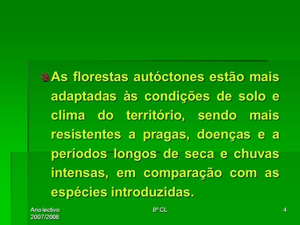 Ano lectivo 2007/20088º CL25 A floresta autóctone está mais adaptada às condições de solo e clima do território, sendo mais resistente a pragas, doenças e a períodos longos de seca e chuvas intensas.