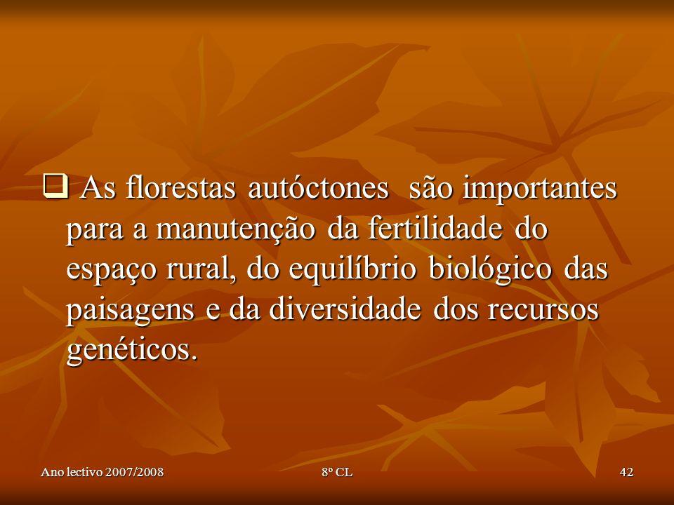 Ano lectivo 2007/20088º CL42 As florestas autóctones são importantes para a manutenção da fertilidade do espaço rural, do equilíbrio biológico das pai