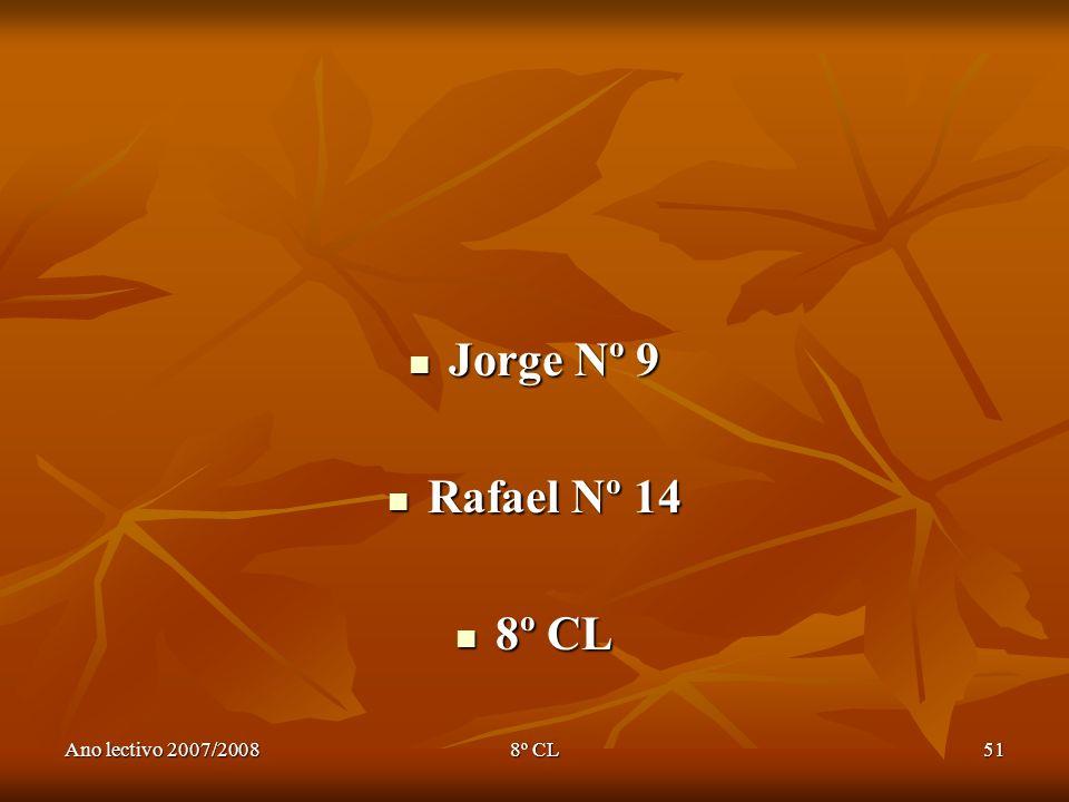 Ano lectivo 2007/20088º CL51 Jorge Nº 9 Jorge Nº 9 Rafael Nº 14 Rafael Nº 14 8º CL 8º CL