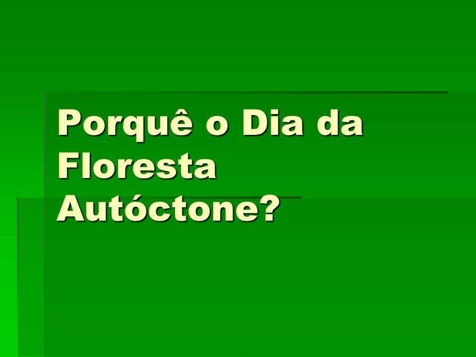 Ano lectivo 2007/2008 8º CL9 O dia da floresta autóctone foi estabelecido para divulgar a importância da conservação das florestas naturais e a necessidade de as salvaguardar da destruição.