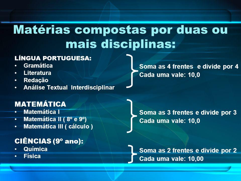 Matérias compostas por duas ou mais disciplinas: LÍNGUA PORTUGUESA: Gramática Literatura Redação Análise Textual Interdisciplinar MATEMÁTICA Matemátic
