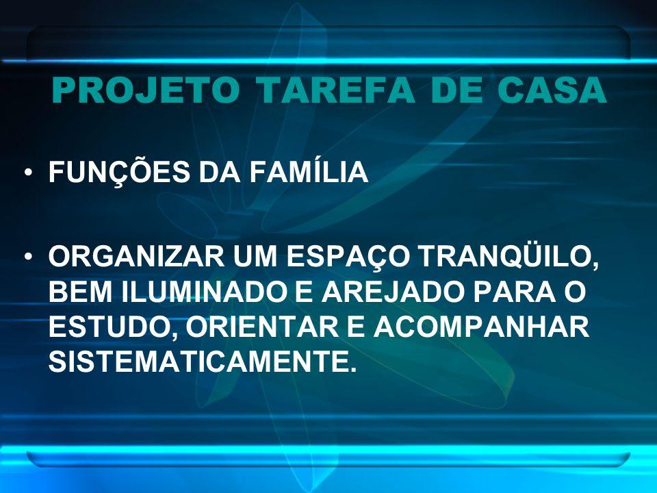 PROJETO TAREFA DE CASA FUNÇÕES DA FAMÍLIA ORGANIZAR UM ESPAÇO TRANQÜILO, BEM ILUMINADO E AREJADO PARA O ESTUDO, ORIENTAR E ACOMPANHAR SISTEMATICAMENTE
