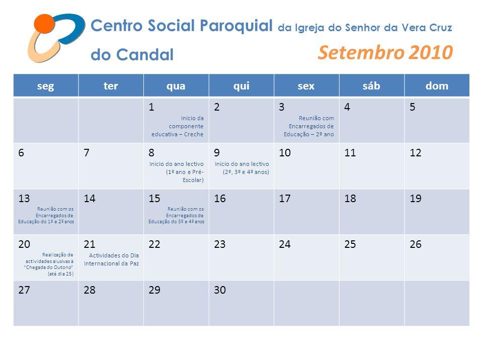 Centro Social Paroquial da Igreja do Senhor da Vera Cruz do Candal Setembro 2010 segterquaquisexsábdom 1 Início da componente educativa – Creche 23 Re