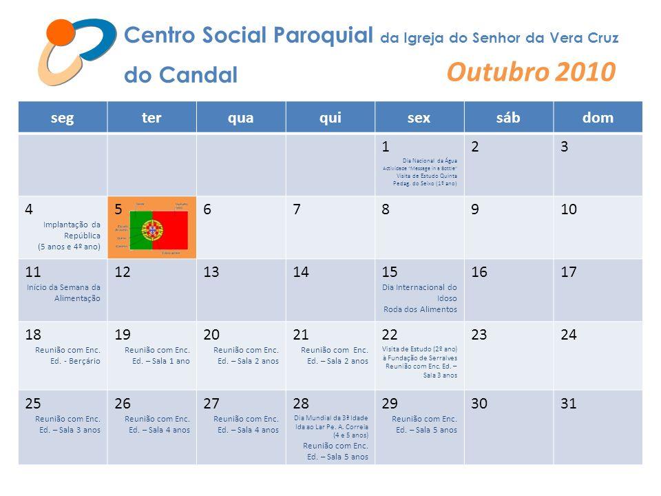 Centro Social Paroquial da Igreja do Senhor da Vera Cruz do Candal Novembro 2010 segterquaquisexsábdom 1234567 8910 Início da Feira de S.