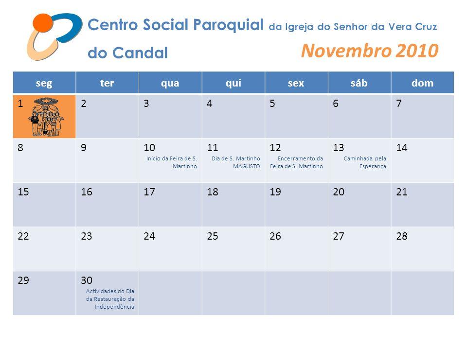 Centro Social Paroquial da Igreja do Senhor da Vera Cruz do Candal Novembro 2010 segterquaquisexsábdom 1234567 8910 Início da Feira de S. Martinho 11