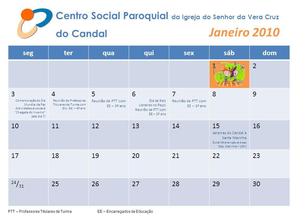 Centro Social Paroquial da Igreja do Senhor da Vera Cruz do Candal Janeiro 2010 segterquaquisexsábdom 12 3 Comemoração do Dia Mundial da Paz Actividad