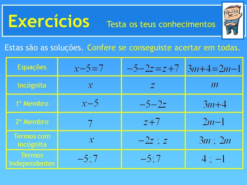 Exercícios Testa os teus conhecimentos Estas são as soluções. Confere se conseguiste acertar em todas. Equações Incógnita 1º Membro 2º Membro Termos c