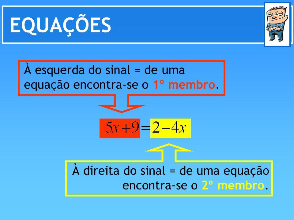 EQUAÇÕES À direita do sinal = de uma equação encontra-se o 2º membro. À esquerda do sinal = de uma equação encontra-se o 1º membro.
