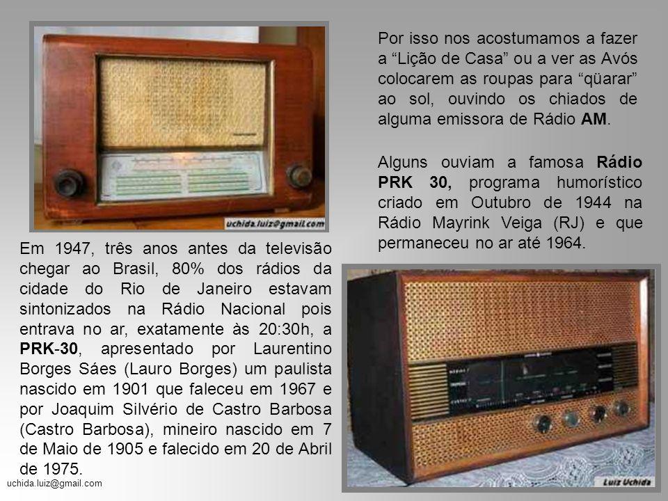uchida.luiz@gmail.com Nós, os adolescentes dos anos 70, convivemos muito mais com os aparelhos de rádio do que com os de televisão. Nossas Avós ou as
