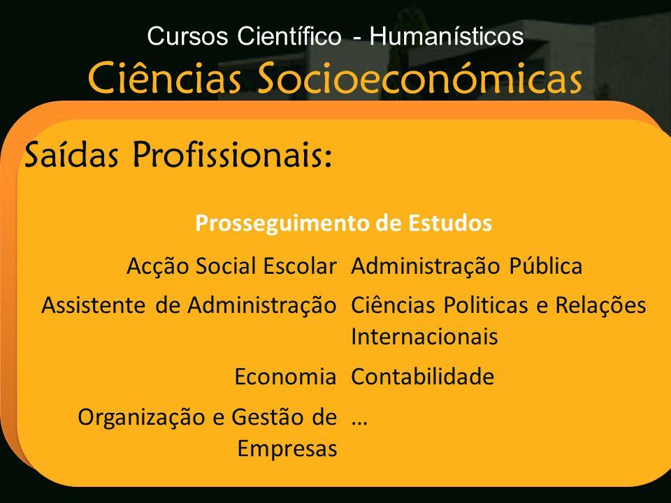 Cursos Científico - Humanísticos Ciências Socioeconómicas Escola Secundária de Arganil Saídas Profissionais: Prosseguimento de Estudos Acção Social Es