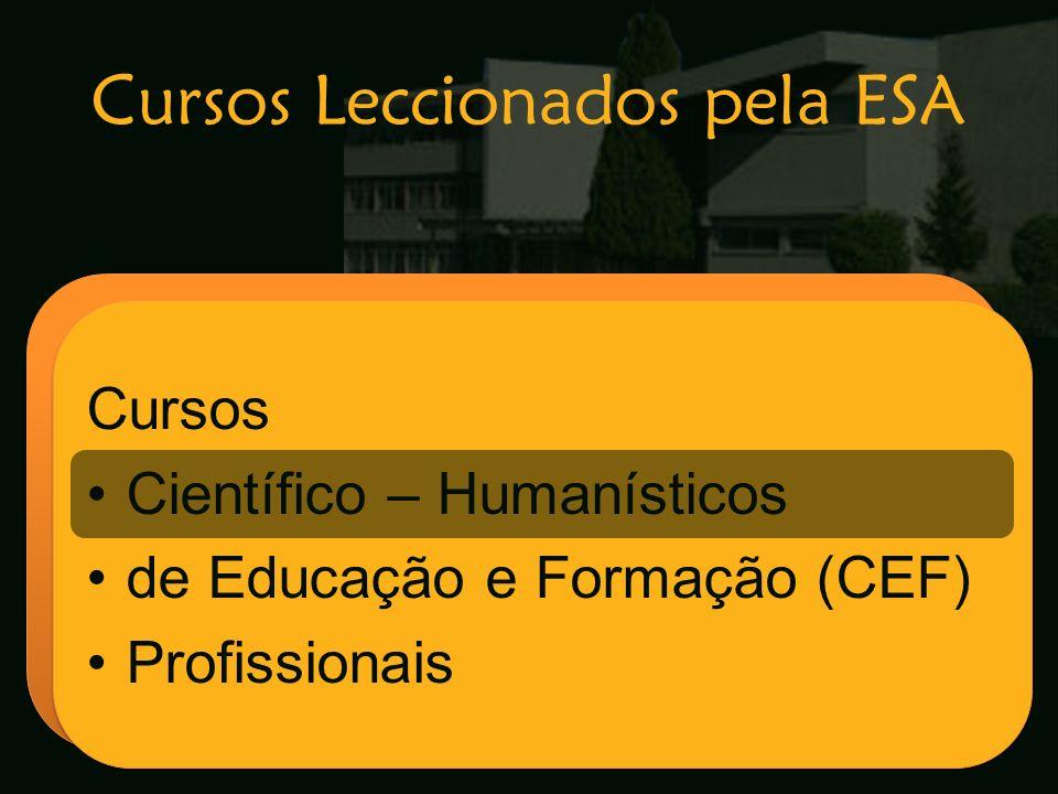 Cursos Leccionados pela ESA Escola Secundária de Arganil Cursos Científico – Humanísticos de Educação e Formação (CEF) Profissionais Cursos Científico