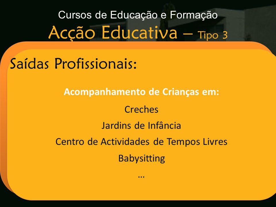 Cursos de Educação e Formação Acção Educativa – Tipo 3 Escola Secundária de Arganil Saídas Profissionais: Acompanhamento de Crianças em: Creches Jardi