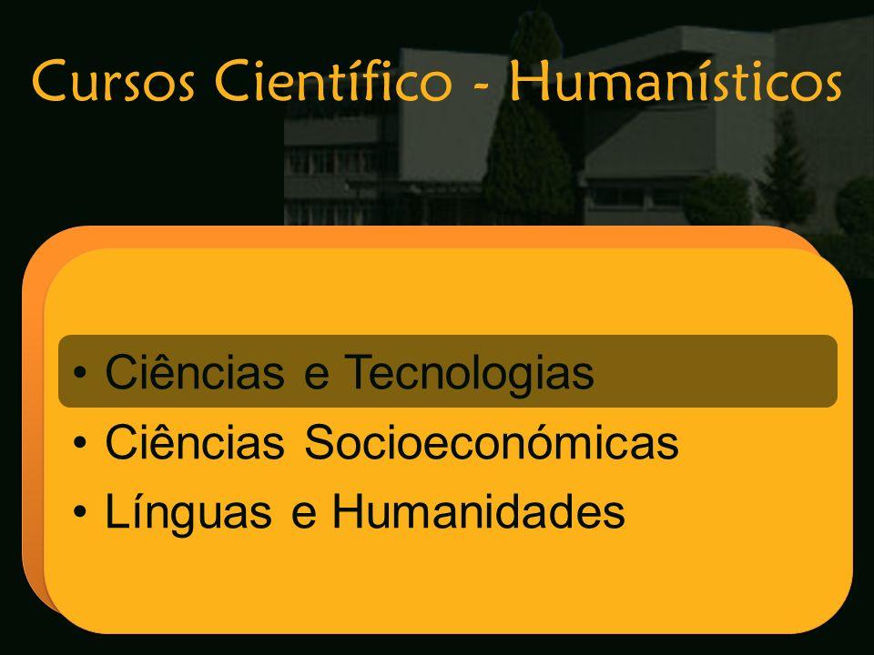Cursos Científico - Humanísticos Escola Secundária de Arganil Ciências e Tecnologias Ciências Socioeconómicas Línguas e Humanidades Ciências e Tecnolo