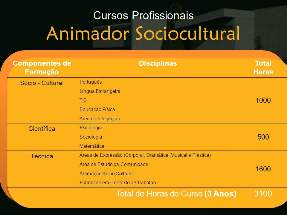 Cursos Profissionais Animador Sociocultural Escola Secundária de Arganil Componentes de Formação DisciplinasTotal Horas Sócio - Cultural Português 100