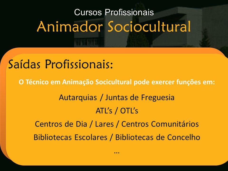 Cursos Profissionais Animador Sociocultural Escola Secundária de Arganil Saídas Profissionais: O Técnico em Animação Socicultural pode exercer funções