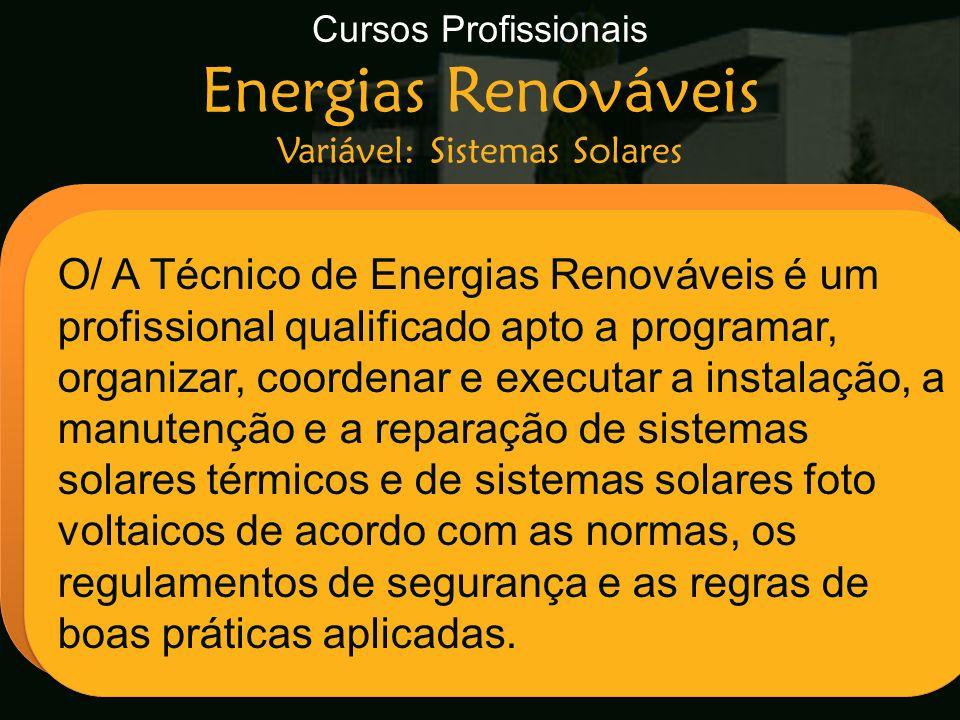 Cursos Profissionais Energias Renováveis Variável: Sistemas Solares Escola Secundária de Arganil O/ A Técnico de Energias Renováveis é um profissional