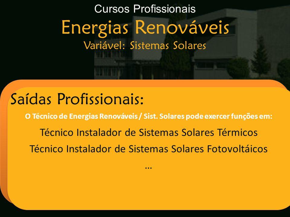 Cursos Profissionais Energias Renováveis Variável: Sistemas Solares Escola Secundária de Arganil Saídas Profissionais: O Técnico de Energias Renovávei