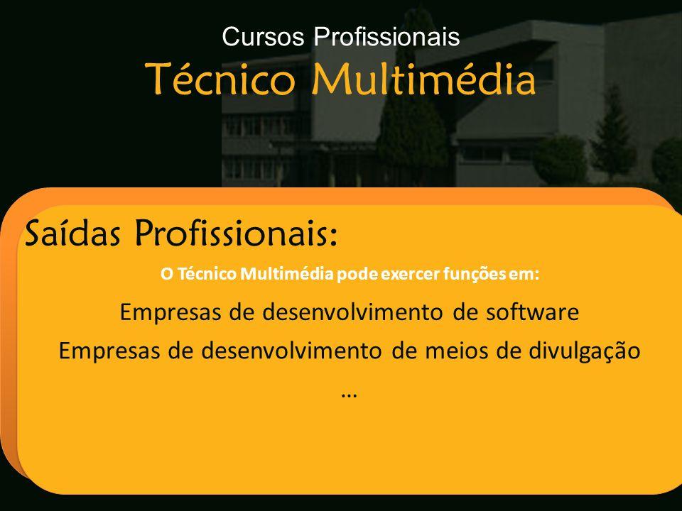 Escola Secundária de Arganil Saídas Profissionais: O Técnico Multimédia pode exercer funções em: Empresas de desenvolvimento de software Empresas de d