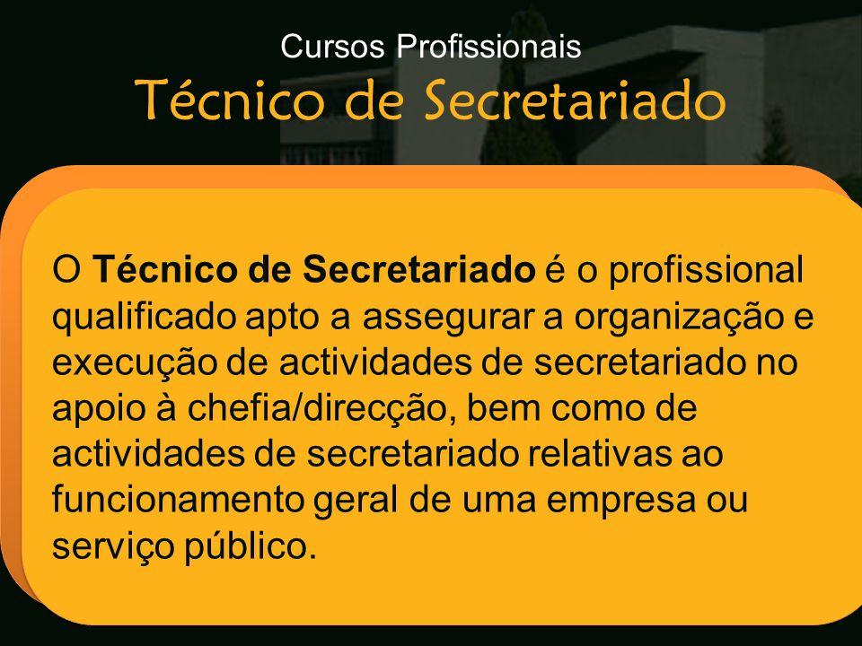 Cursos Profissionais Técnico de Secretariado Escola Secundária de Arganil O Técnico de Secretariado é o profissional qualificado apto a assegurar a or