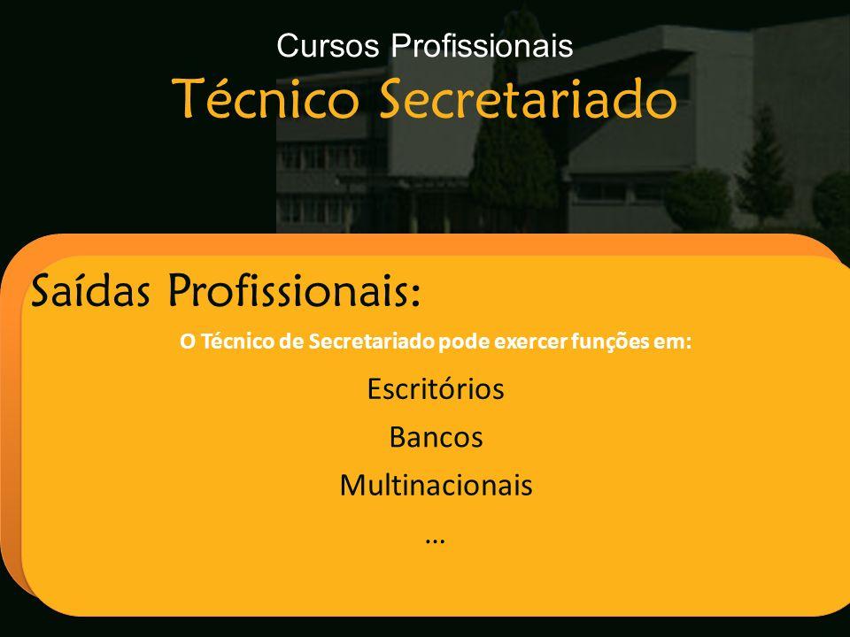 Escola Secundária de Arganil Saídas Profissionais: O Técnico de Secretariado pode exercer funções em: Escritórios Bancos Multinacionais … Cursos Profi