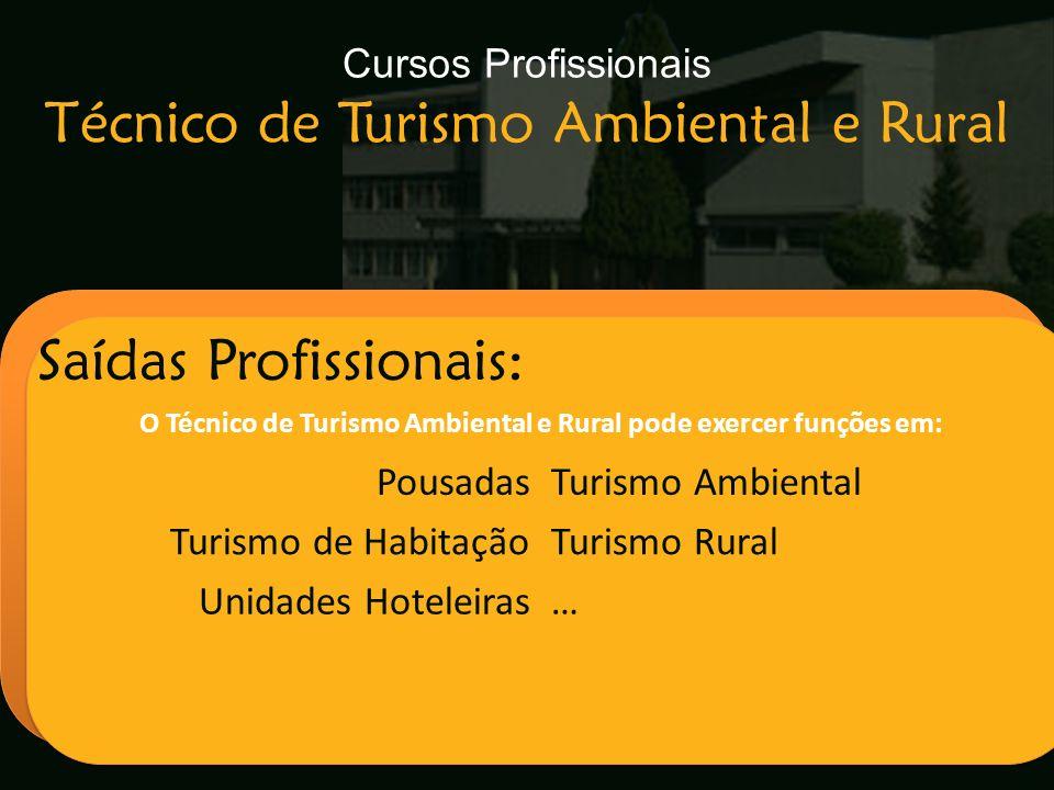 Escola Secundária de Arganil Saídas Profissionais: O Técnico de Turismo Ambiental e Rural pode exercer funções em: PousadasTurismo Ambiental Turismo d
