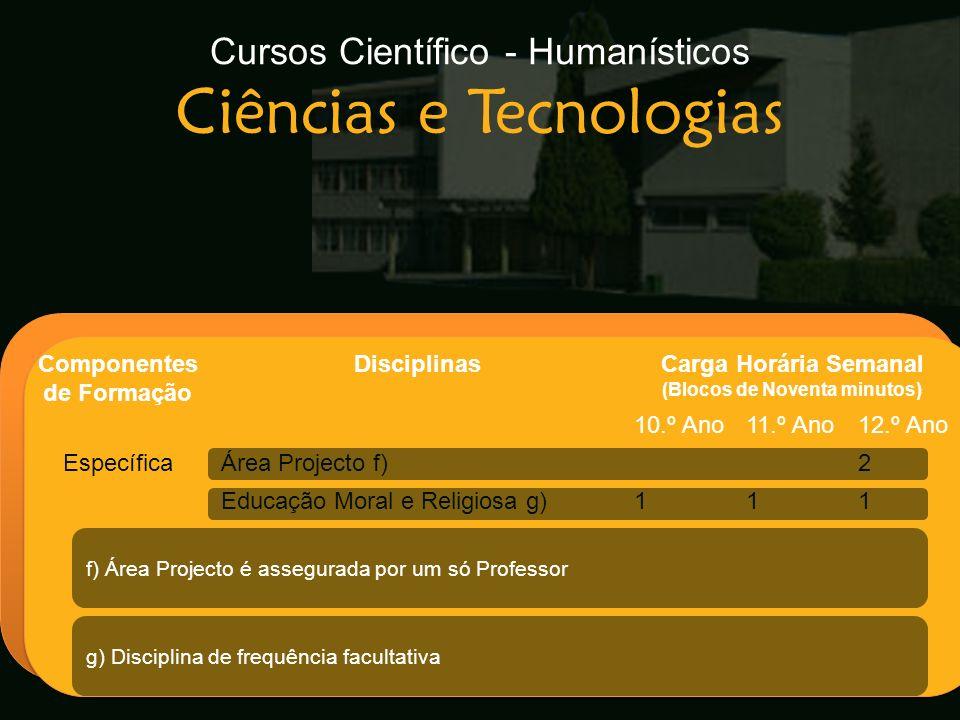 Cursos Científico - Humanísticos Ciências e Tecnologias Escola Secundária de Arganil Componentes de Formação DisciplinasCarga Horária Semanal (Blocos